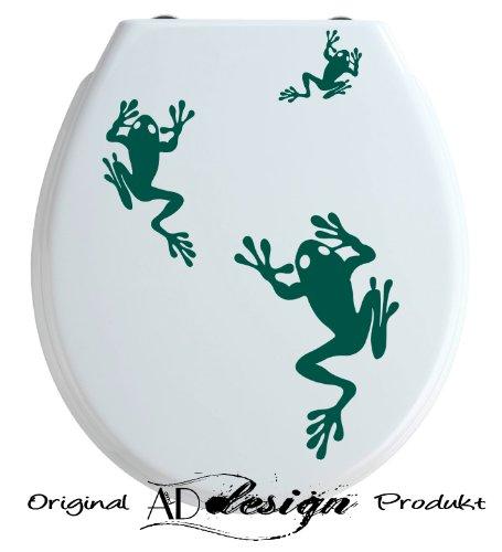 TREND DESIGN - Aufkleber für WC Toiletten Deckel ***Frosch 3er Set*** freie Farbauswahl!