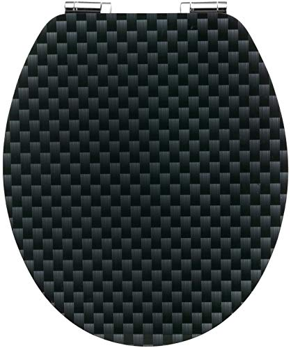 "Cornat WC-Sitz Art of Acryl ""Carbon"" - Elegante Acryl-Oberfläche - Hochwertiger Holzkern - Absenkautomatik & Schnellbefestigung - Komfortables Sitzgefühl / Toilettensitz / Klodeckel / KSDSC319"