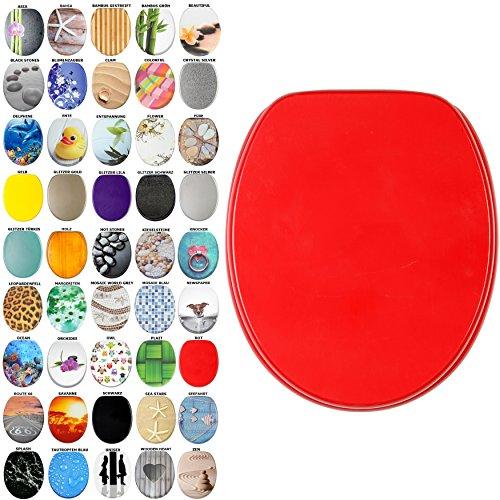 WC Sitz, viele schöne WC Sitze zur Auswahl, hochwertige und stabile Qualität aus Holz (Rot)