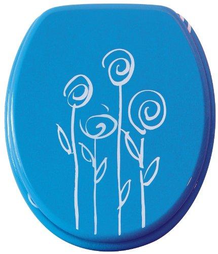 WC-Sitz Dekor Blumen blau   Bemis   Toilettensitz   WC-Brille aus Holz   Metall-Scharnier