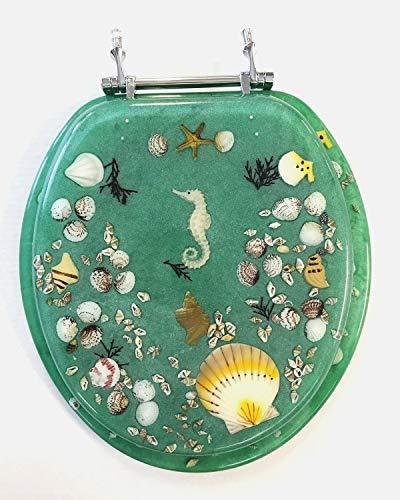 Daniel 's Bath & Beyond Polyresin rund Seepferdchen WC-Sitz, grün, 43,2cm