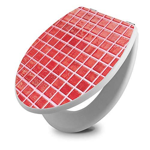 banjado Toilettendeckel Holz | WC Sitz weiß 42cm x 3,5cm x 37cm | Klodeckel aus MDF weiß | Klobrille mit Edelstahl Scharnieren | Toilettensitz mit Motiv Rote Kacheln