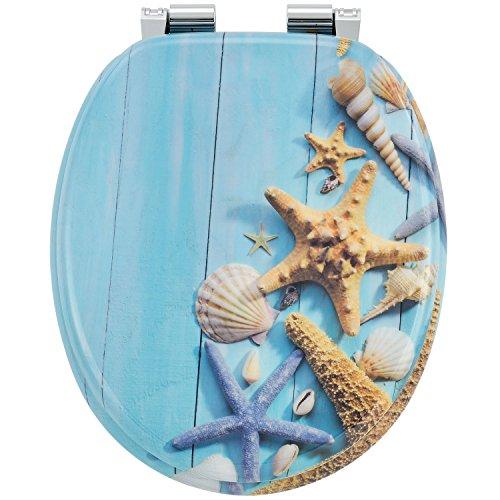 WC-Sitz Toilettensitz mit Deckel Motiv - Ocean aus MDF-Holz mit Absenkautomatik | Juskys
