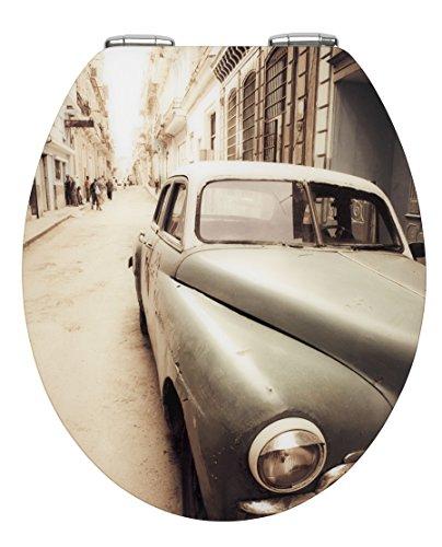 Wenko 21818100 WC-Sitz Hochglanz Acryl Old-Time Car - mit Absenkautomatik, Kunststoff, mehrfarbig