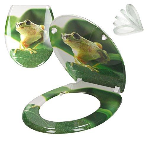 ECD Germany Premium Duroplast Toilettendeckel mit Soft-Close Absenkautomatik Frosch Motiv