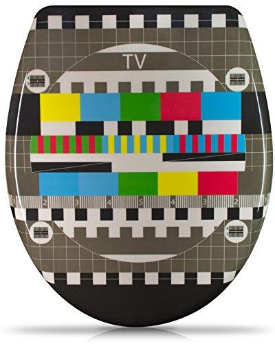 """WC Sitz mit Absenkautomatik -""""TV Testbild"""" Design - Duroplast Toilettendeckel mit Motiv inkl. Montagesatz - Grinscard"""