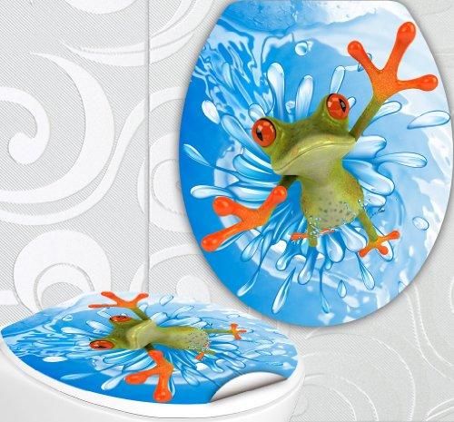 """WC Sitz Aufkleber"""" FROSCH SPLASH"""" Design Folie Dekor für Toilettendeckel Klodeckel Sticker"""