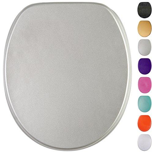Glitzer WC Sitz mit Absenkautomatik, viele schöne glitzer WC Sitze zur Auswahl, hochwertige und stabile Qualität aus Holz (Glitzer Silber)