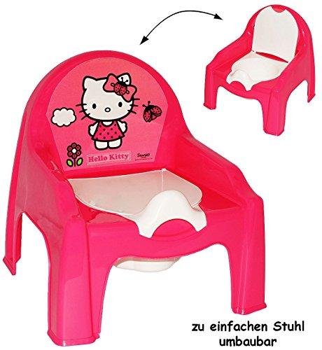 alles-meine.de GmbH 2 in 1: Nachttopf + Kinderstuhl _ Töpfchen / Nachttopf -  Hello Kitty  - mit großer Lehne + Spritzschutz - WC Stuhl - Plastik - Sitz Babytöpfchen / Kinderto..