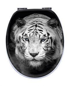 Schwarzer Toilettensitz mit Motiv
