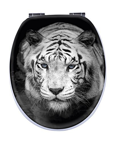 Aquashine® Premium WC-Sitz | spektakuläre 3D Motive | Universal Toilettensitz mit Soft-Close Funktion | Einfache Montage von oben (3D Tiger)