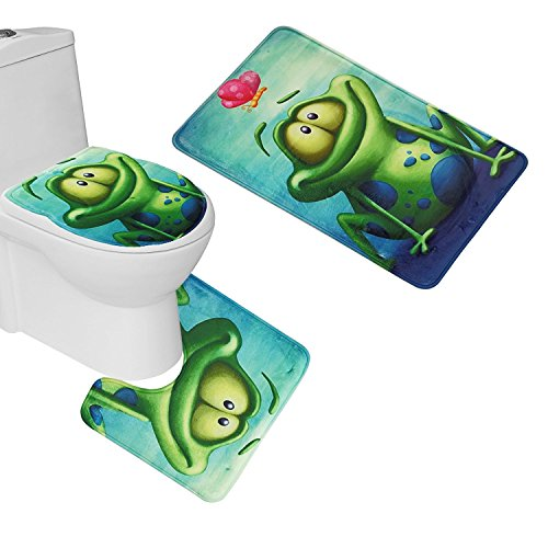 RedBeans 3Stück WC-Sitz Cover und Set Badezimmer Vorleger Teppich + Deckel WC-Deckelbezug + Badteppich Frosch und Lotus Flower