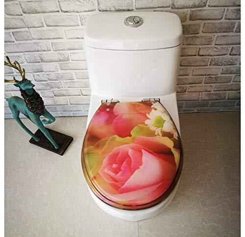 Toilleten Sitz WC-Sitz Rose Druck WC-Deckel mit verstellbarem Scharnier Schnellverschluss WC-Sitzbezug verdickt Baddeckel für V/U/O-Form-WC Antibakterieller Toilettensitz (größe : 40~48 * 33~38cm)