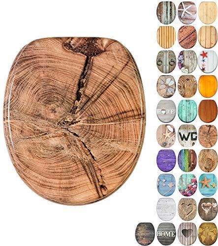 WC Sitz mit Absenkautomatik, viele schöne Holz WC Sitze zur Auswahl, hochwertige und stabile Qualität (Old Tree)