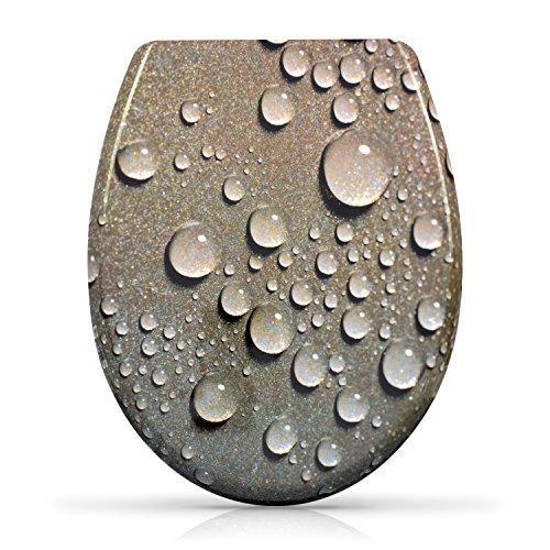 """VENKON - Premium WC Sitz mit Absenkautomatik - Modell """"3D Wassertropfen"""" - Toilettendeckel aus Duroplast (antibakteriell) inkl. Montagesatz (rostfreie Scharniere)"""