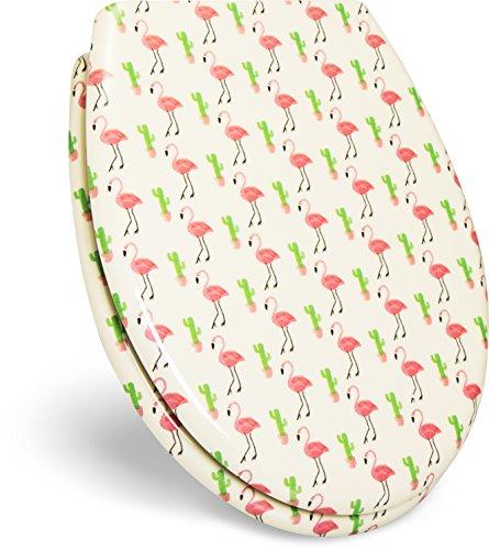"""WC Sitz mit Absenkautomatik -""""Flamingo"""" Design - Duroplast Toilettendeckel mit Vogel Motiv inkl. Montagesatz"""