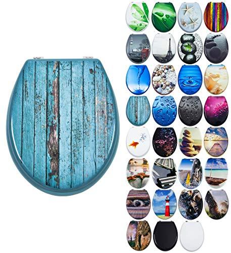 Grafner MDF WC Sitz mit Absenkautomatik viele schöne Motive zur Auswahl - stabile Qualität - einfache Monatge WC Deckel Klobrille Softcolse (Blue Planks)