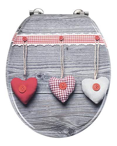 Wenko WC-Sitz Bavarian Hearts MDF Mehrfarbig, 43 x 37 x 5 cm