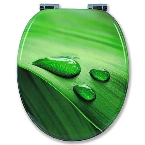 WOLTU #2 Premium WC-Sitz Toilettensitz mit Absenkautomatik, MDF Holzkern, Softclose Scharnier, Antibakteriell, Desgin Décor