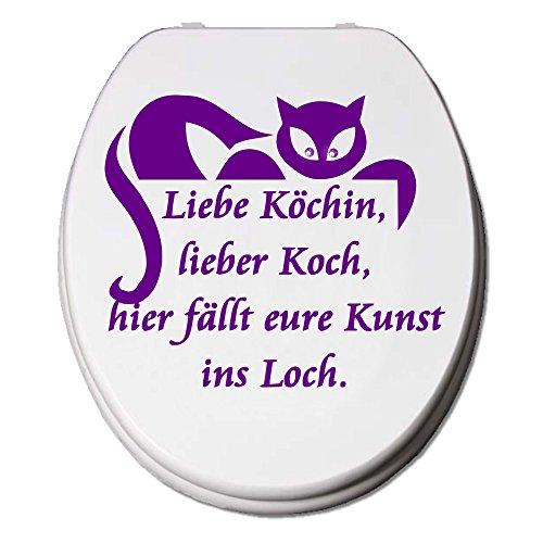 WC Aufkleber Katze Fun Spruch Köchin mit Kristallen von SWAROVSKI® verziert! Strassveredelung WC Deckel Sticker Strass