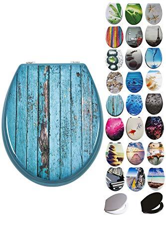 Grafner MDF WC Sitz viele schöne Motive zur Auswahl - stabile Qualität - einfache Monatge WC Deckel Klobrille (Colored Bubble)
