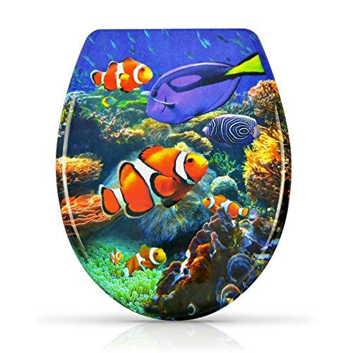 """WC Sitz mit Absenkautomatik - """"Clownfish"""" Design - Duroplast Toilettendeckel mit Motiv inkl. Montagesatz - Grinscard"""
