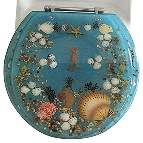 Daniel 's Bath & Beyond Polyresin rund Seepferdchen WC-Sitz, blau, 43,2cm