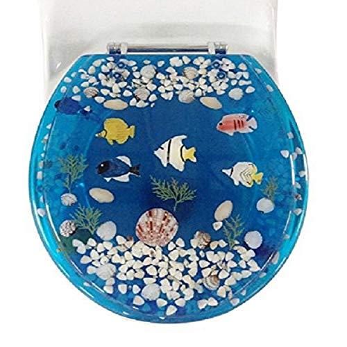 Daniel 's Bath & Beyond Polyresin rund Fisch WC-Sitz, blau, 43,2cm
