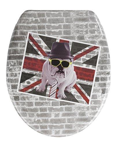 WENKO 21400100 WC-Sitz Union Jack - mit Easy-Close Absenkautomatik, Kunststoff - Duroplast, 37.5 x 44.5 cm, Mehrfarbig