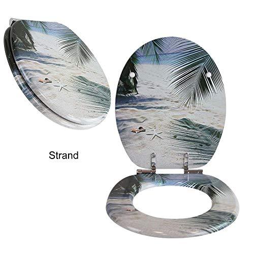 Toilettensitz WC-Sitz mit Absenkautomatik und verzinkten Scharnieren - Klobrille Klodeckel Toilettendeckel aus MDF (Strand)