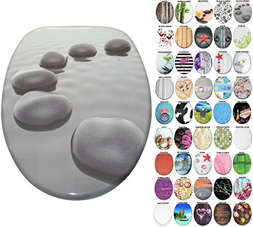 WC Sitz mit Absenkautomatik, große Auswahl, schöne Motive, hochwertige und stabile Qualität aus Holz (Black Stones)