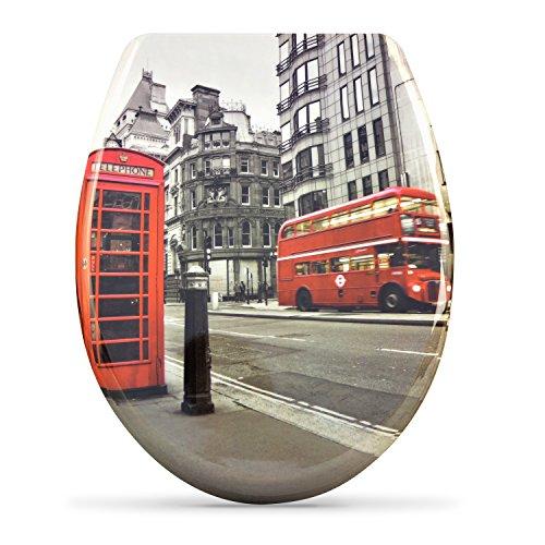"""WC Sitz mit Absenkautomatik -""""London"""" Design - Duroplast Toilettendeckel mit Motiv inkl. Montagesatz - Grinscard"""