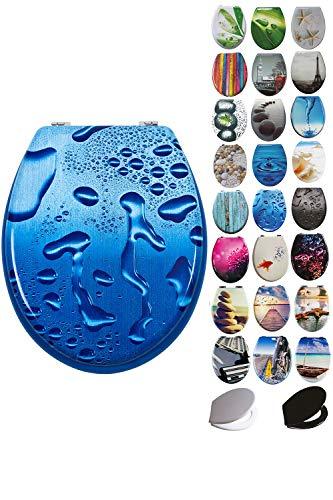 Grafner® MDF WC Sitz mit Absenkautomatik viele schöne Motive zur Auswahl - stabile Qualität - einfache Monatge WC Deckel Klobrille Softcolse (Blue Droplets)
