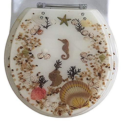 Daniel 's Bath & Beyond Polyresin rund Seepferdchen WC-Sitz, Elfenbeinfarben, 43,2cm