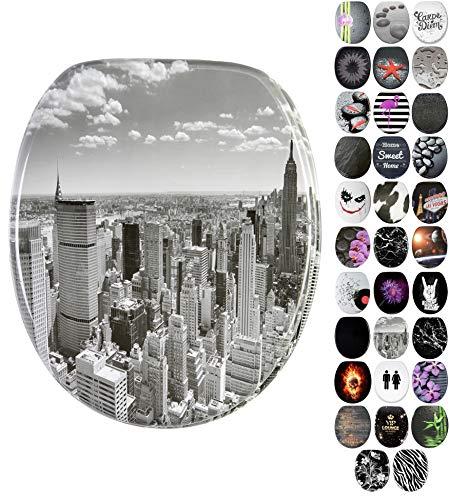 Sanilo WC Sitz mit Absenkautomatik Skyline New York | hochwertige Oberfläche | einfache Montage | stabile Scharniere   A642644