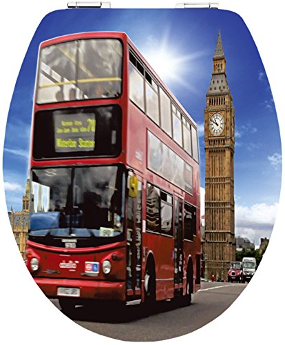 Cornat WC-Sitz Magic Motion LONDON BUS / Toilettensitz / Toilettendeckel / Klodeckel / WC-Deckel / Absenkautomatik / Holzkern (MDF) / KSDSC804