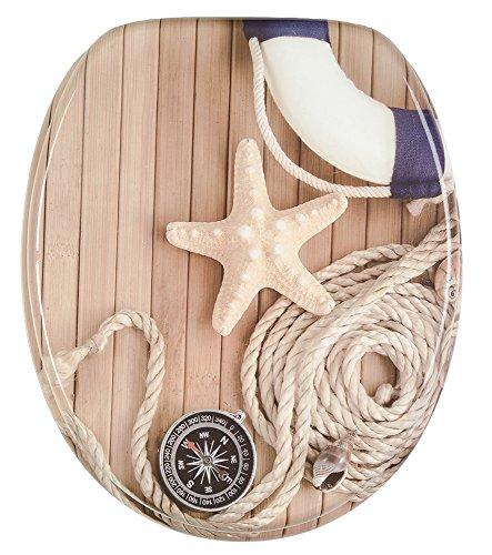 Sanilo WC Sitz mit Absenkautomatik Maritim | hochwertige Oberfläche | einfache Montage | stabile Scharniere   A235952