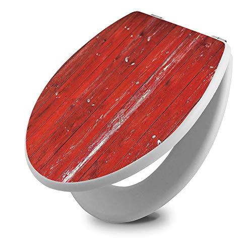 banjado Toilettendeckel Holz | WC Sitz weiß 42cm x 3,5cm x 37cm | Klodeckel aus MDF weiß | Klobrille mit Edelstahl Scharnieren | Toilettensitz mit Motiv Rote Holzlatten