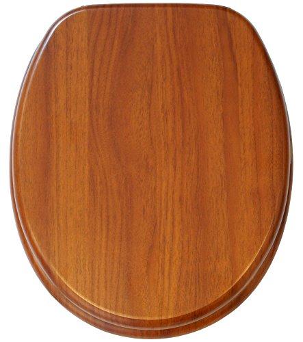 WC Sitz mit Absenkautomatik, hochwertige Oberfläche, einfache Montage, stabile Scharniere, Mahagoni