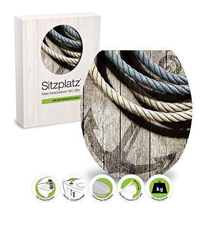 SITZPLATZ - 40293 4 - WC Sitz mit High-Gloss Dekor Seemannstau - WC Brille mit Absenkautomatik - Holz-Kern Toilettensitz - Fast-Fix Schnellbefestigung