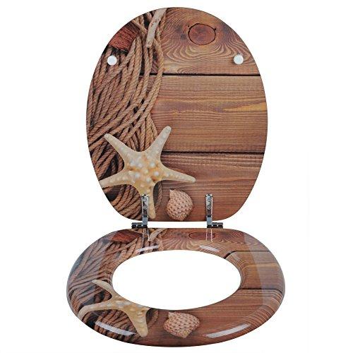 eSituro STS0253 WC Sitz Toilettensitz Toilettendeckel Klodeckel Klobrille aus Zink verchromt Scharniere MDF Holz
