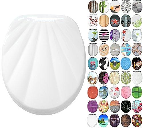 WC Sitz mit Absenkautomatik, große Auswahl, schöne Motive, hochwertige und stabile Qualität aus Holz (Muschel Weiß)