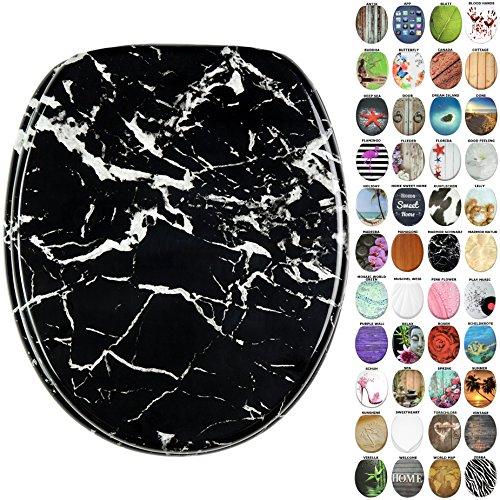 WC Sitz, viele neue WC Sitze zur Auswahl, hochwertige Oberfläche, stabile Scharniere, leichte Montage (Marmor Schwarz)