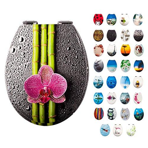 Smartfox WC-Sitz Toilettendeckel mit Bambus mit Blume Motiv, massiver Holzkern, verchromte Schaniere