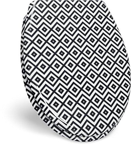 """WC Sitz mit Absenkautomatik -""""Mosaik"""" Design - Duroplast Toilettendeckel mit Kachelmuster Motiv inkl. Montagesatz"""